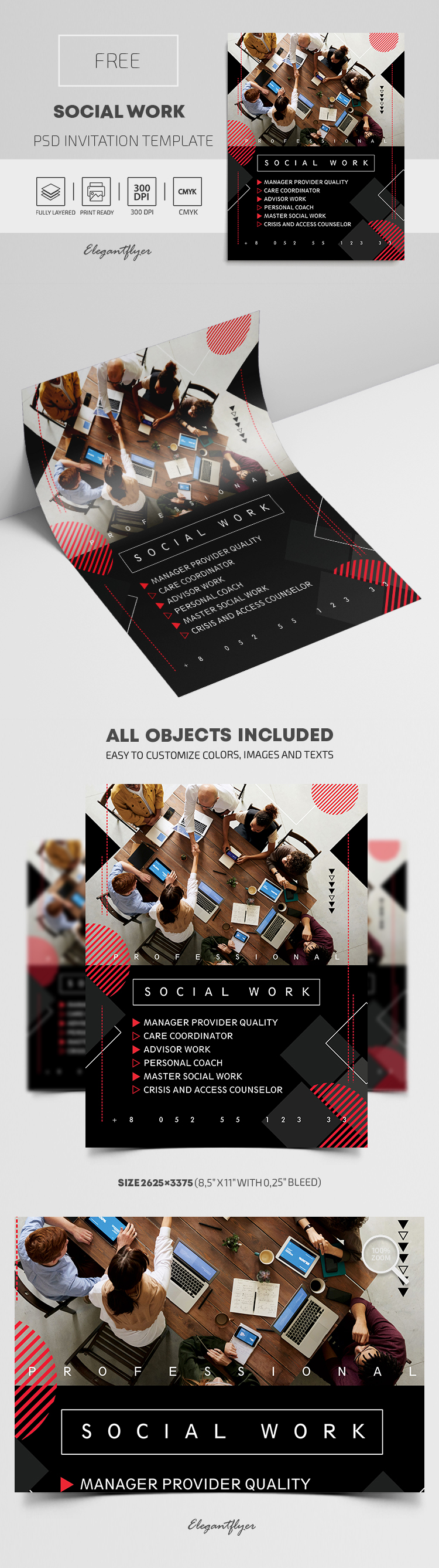 Social Work – Free PSD Invitation Template