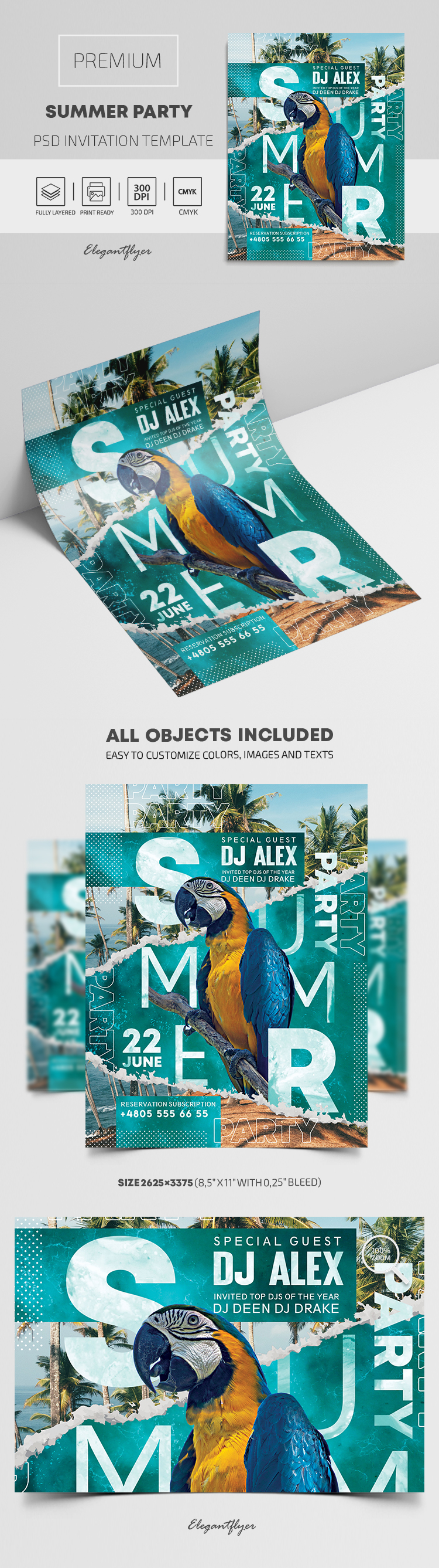 Summer Party – Premium PSD Invitation Template
