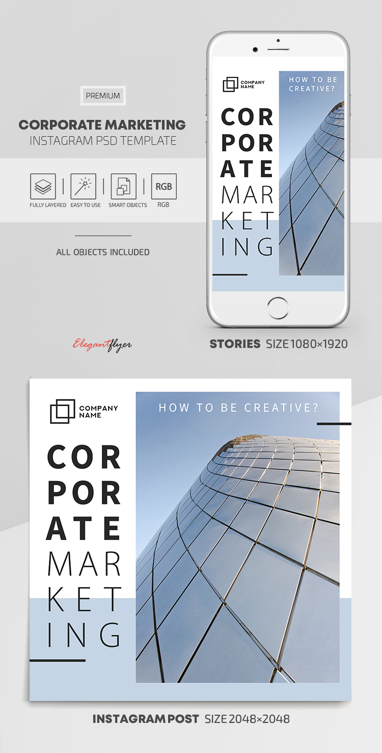 Corporate Marketing – Instagram Stories Template in PSD + Post Templates