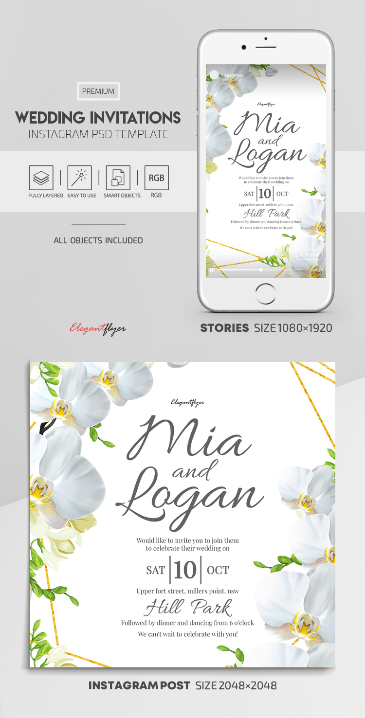 Wedding Invitations – Instagram Stories Template in PSD + Post Templates