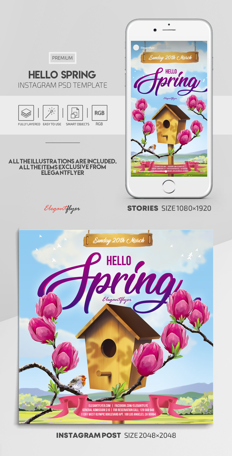 Hello Spring – Instagram Stories Template in PSD + Post Templates