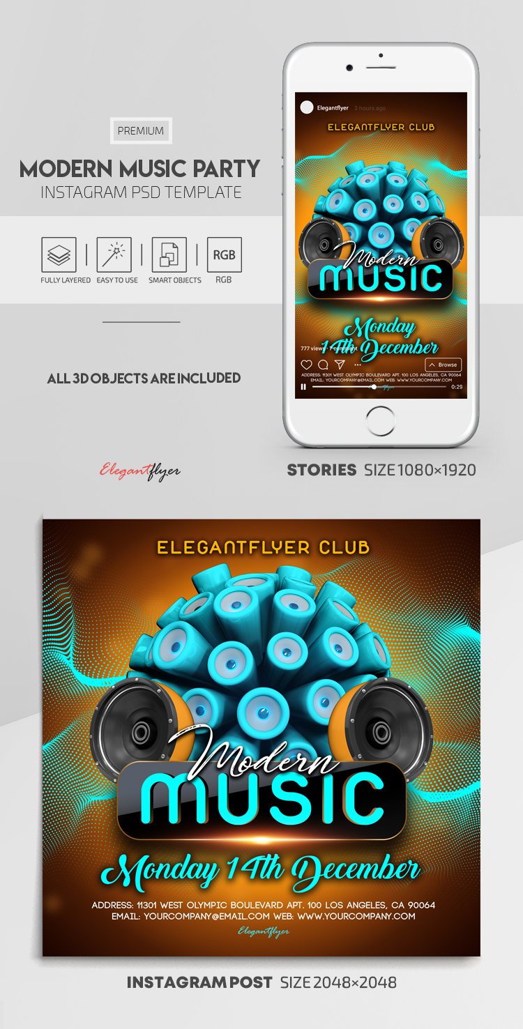 Modern Music Party – Instagram Stories Template in PSD + Post Templates