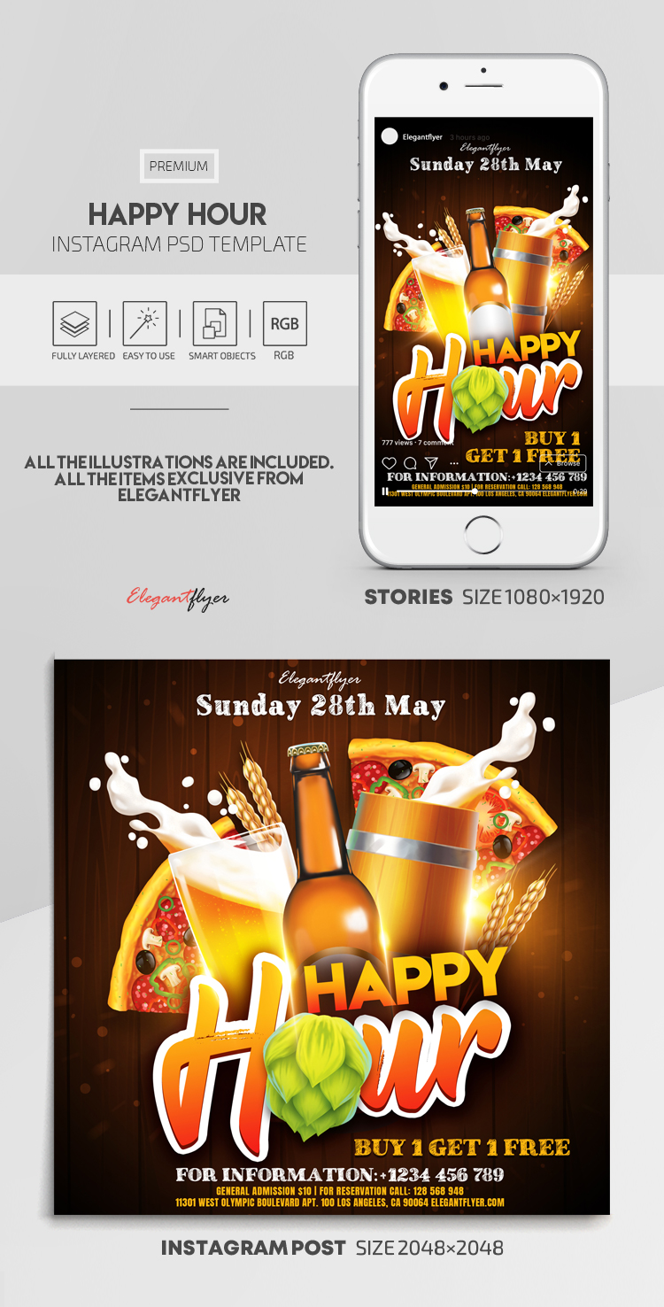 Happy Hour – Instagram Stories Template in PSD + Post Templates