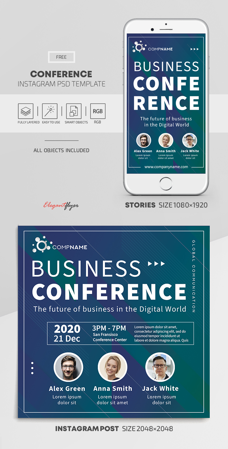 Conference – Free Instagram Stories Template in PSD + Post Templates