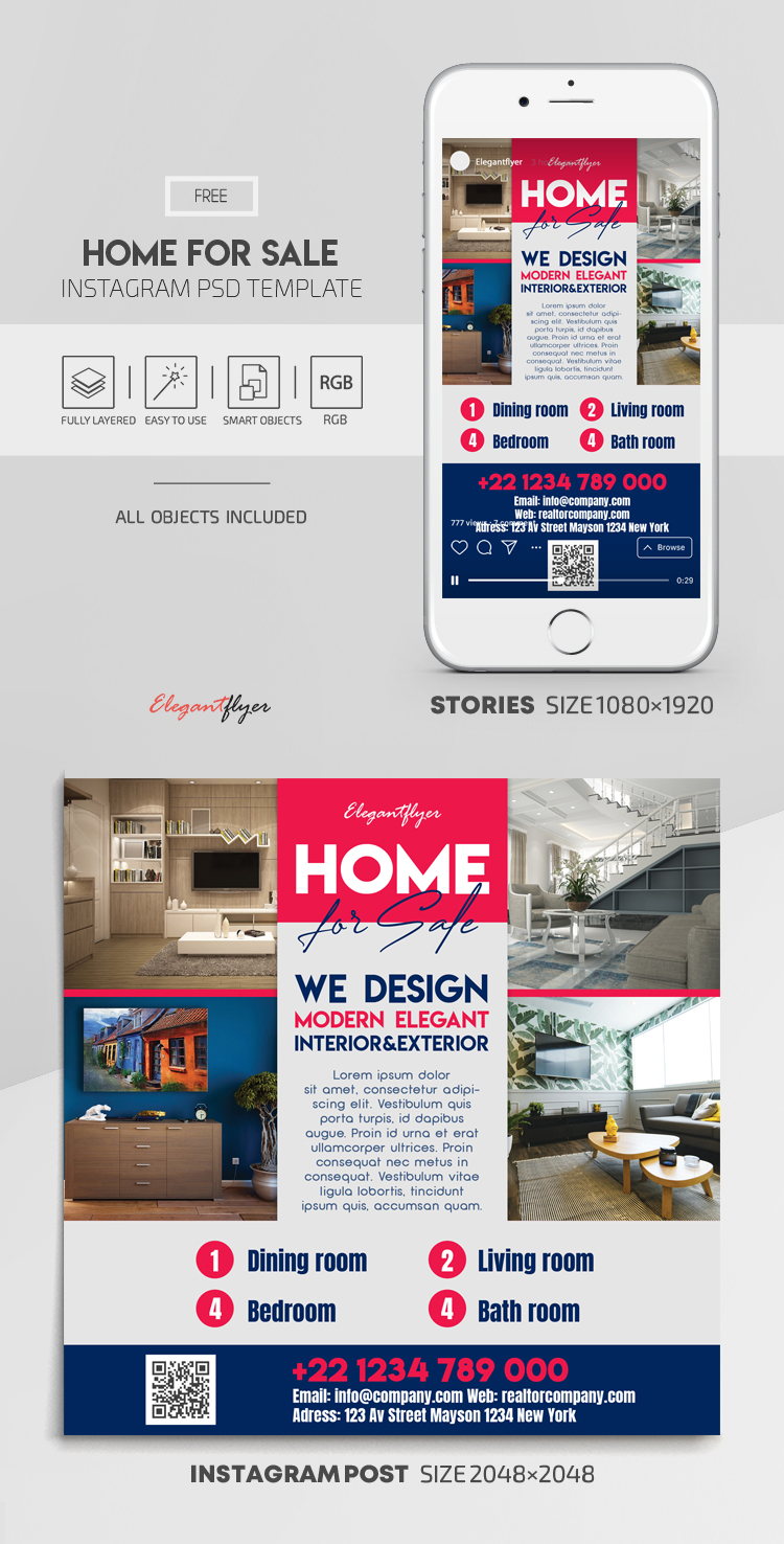 Home For Sale – Free Instagram Stories Template in PSD + Post Templates