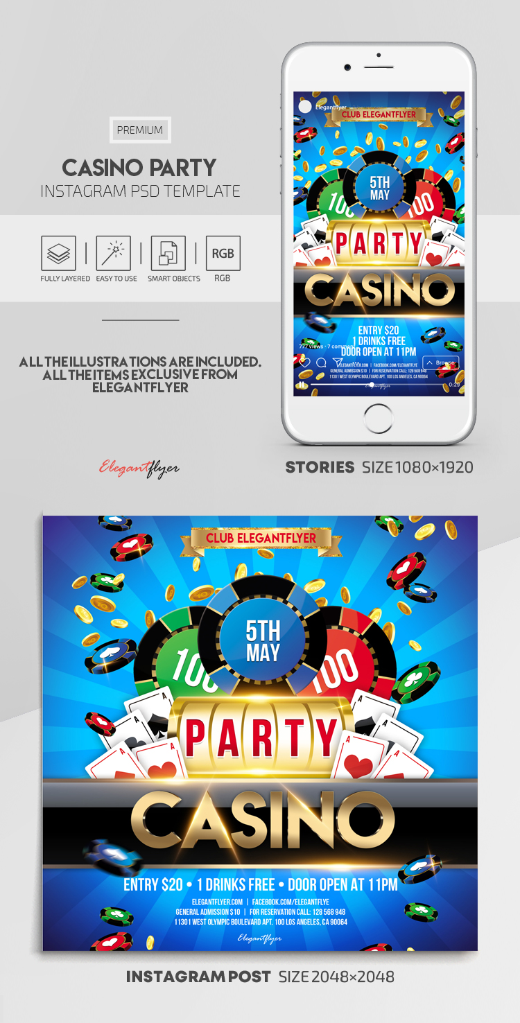 Casino Party – Instagram Stories Template in PSD + Post Templates