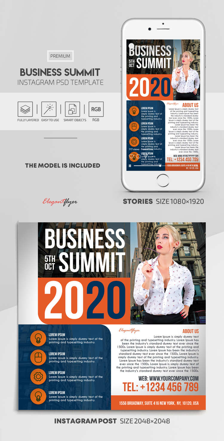 Business Summit – Instagram Stories Template in PSD + Post Templates