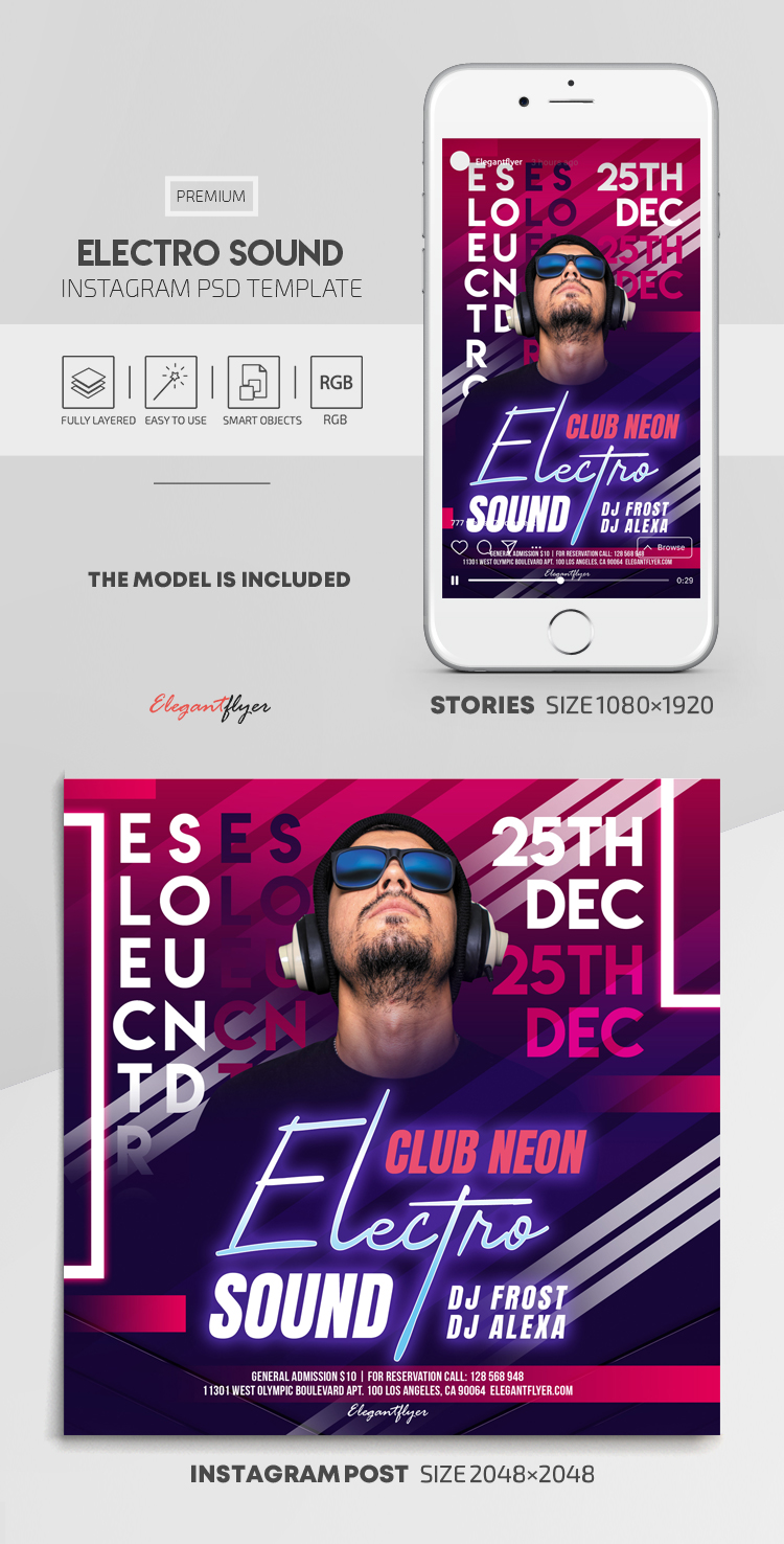 Electro Sound – Instagram Stories Template in PSD + Post Templates