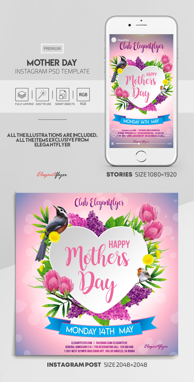 Mother Day – Instagram Stories Template in PSD + Post Templates