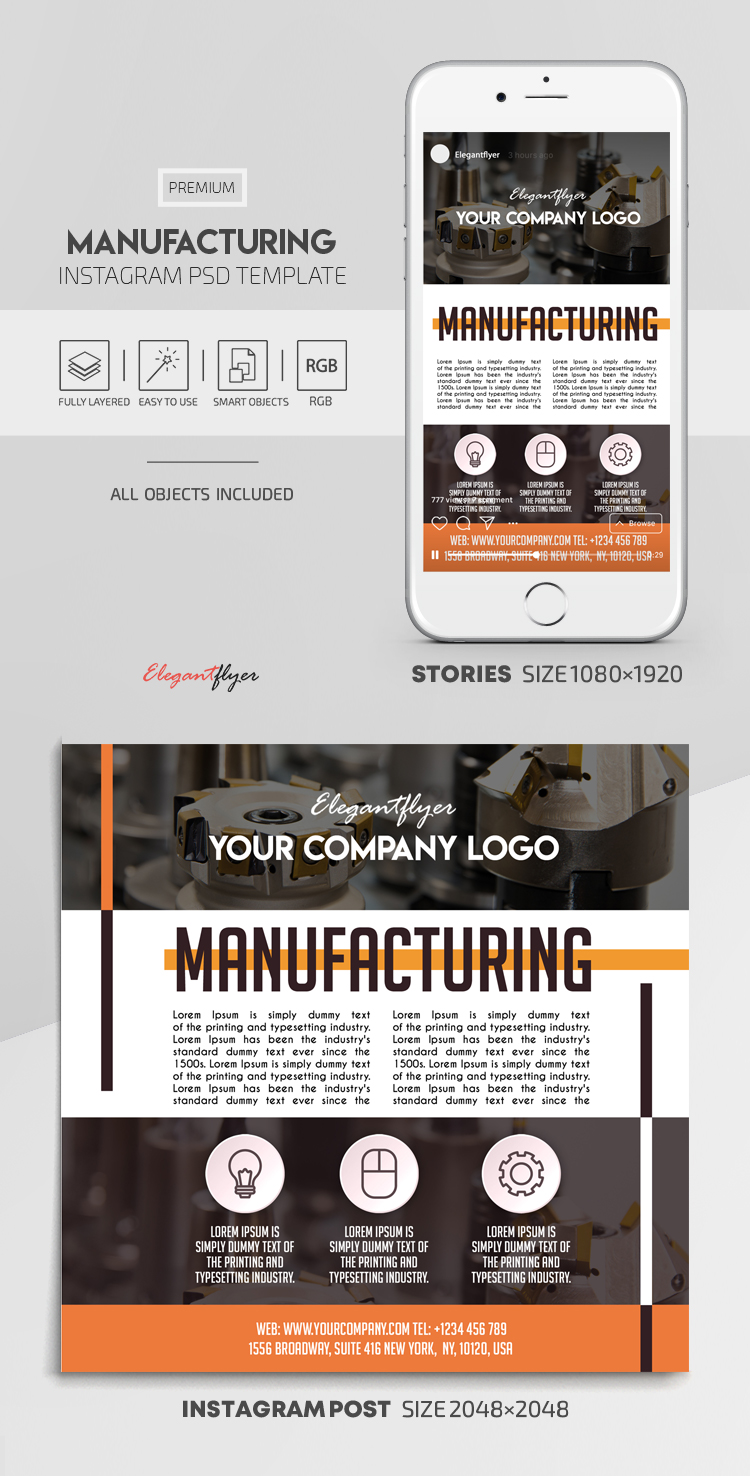 Manufacturing – Instagram Stories Template in PSD + Post Templates