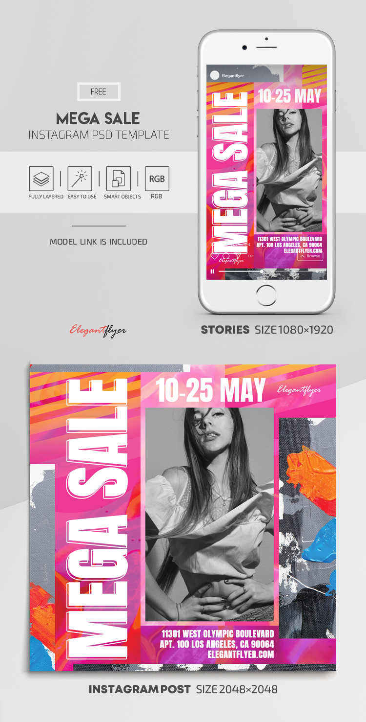 Mega Sale – Free Instagram Stories Template in PSD + Post Templates