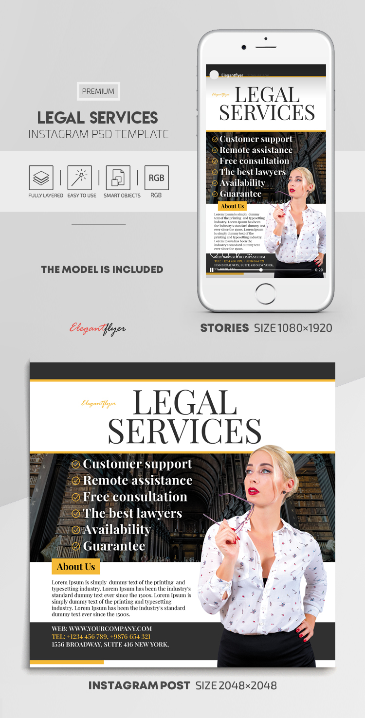 Legal Services – Instagram Stories Template in PSD + Post Templates