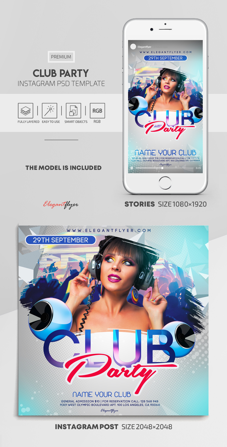 Club Party – Instagram Stories Template in PSD + Post Templates