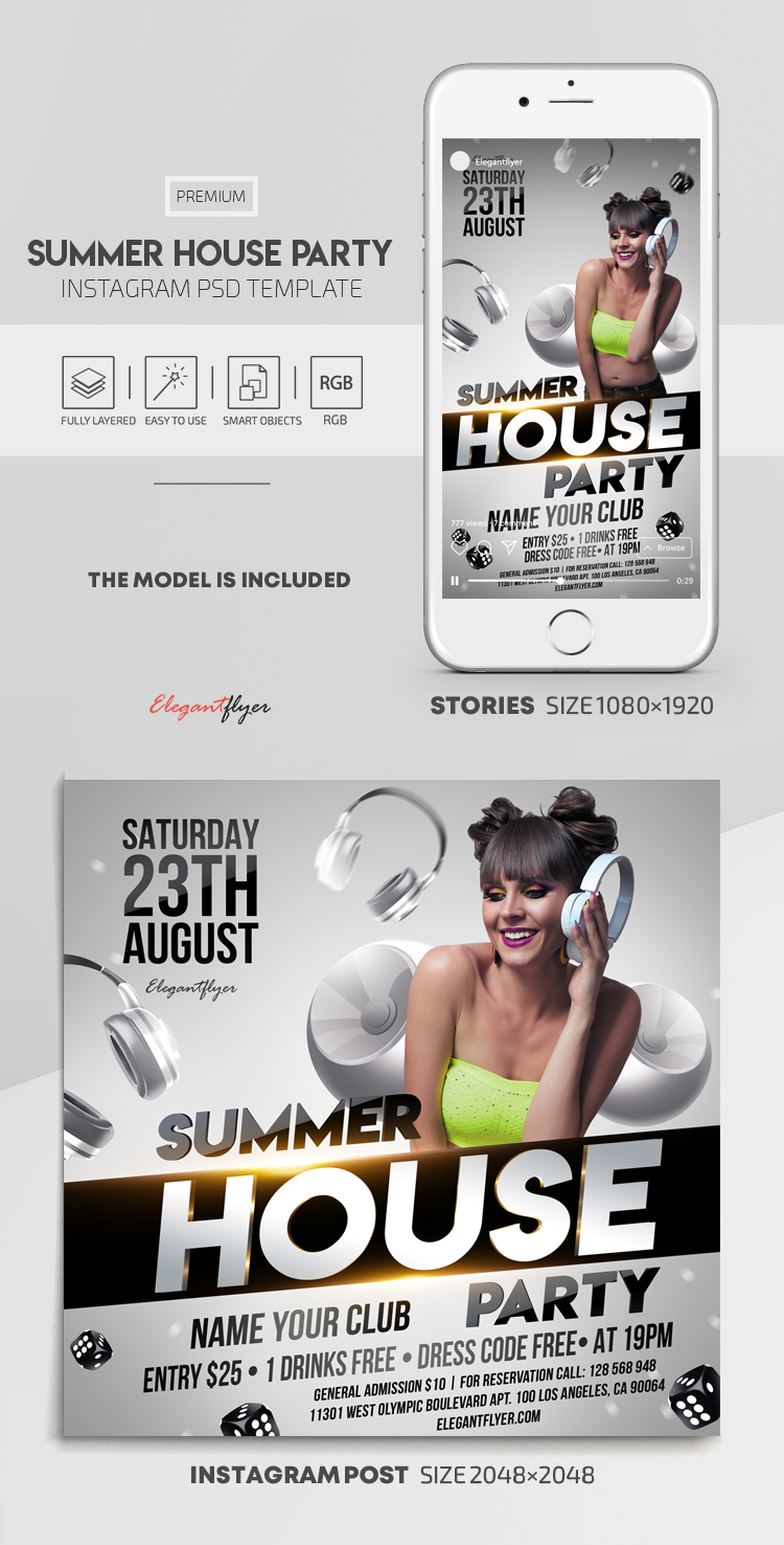 Summer House Party – Instagram Stories Template in PSD + Post Templates