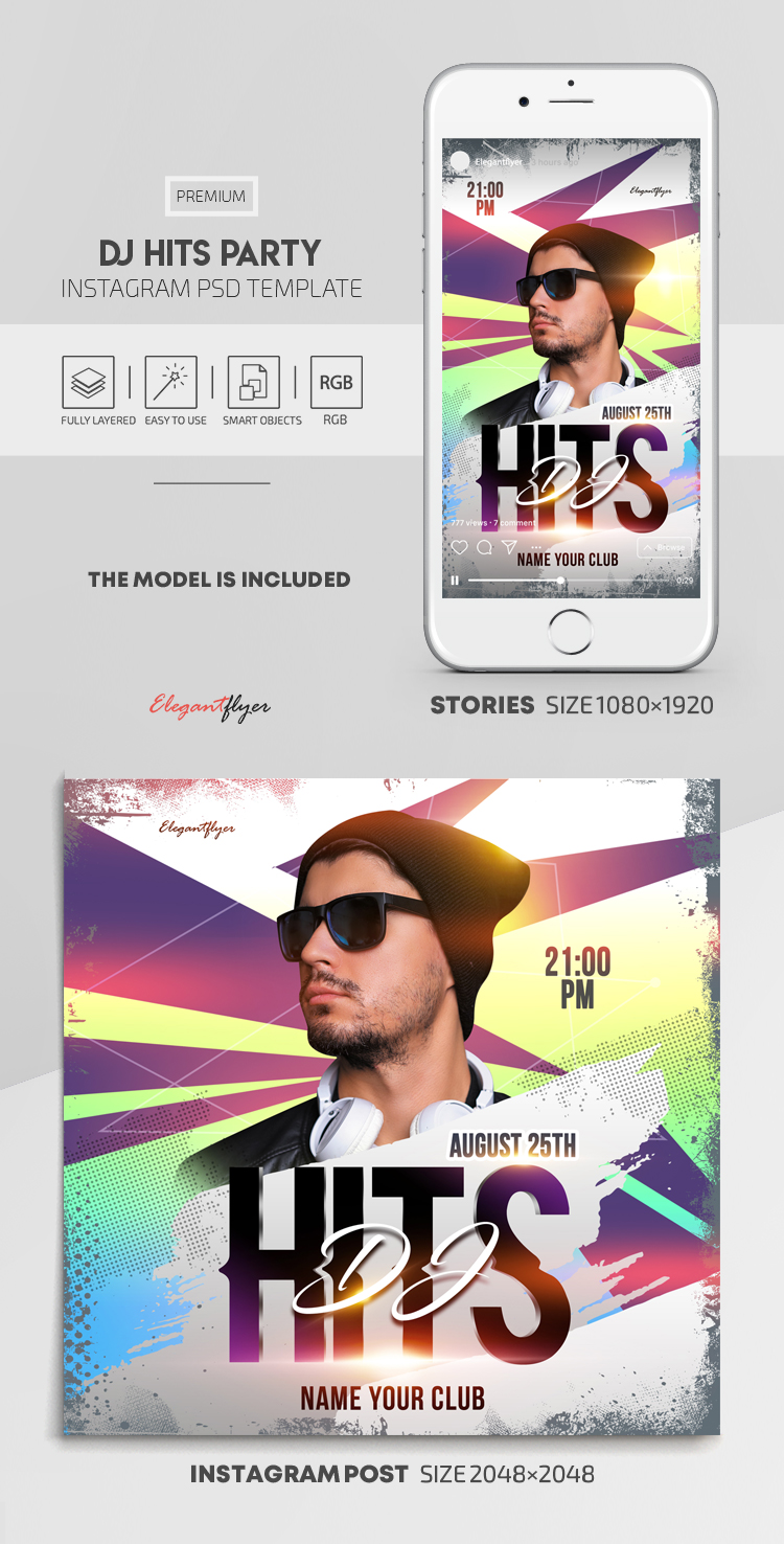 Dj Hits Party – Instagram Stories Template in PSD + Post Templates