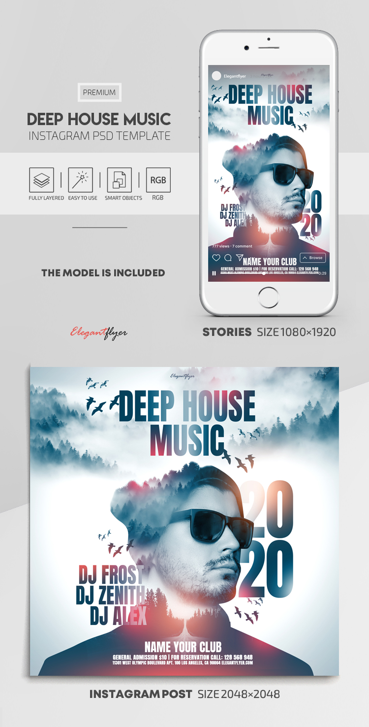 Deep House Music – Instagram Stories Template in PSD + Post Templates