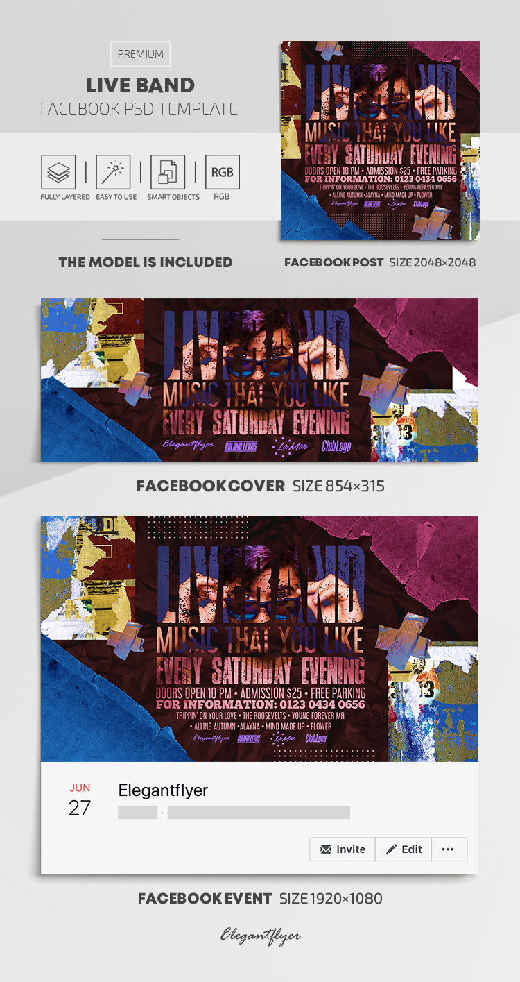 Live Band – Facebook Cover Template in PSD + Post + Event cover