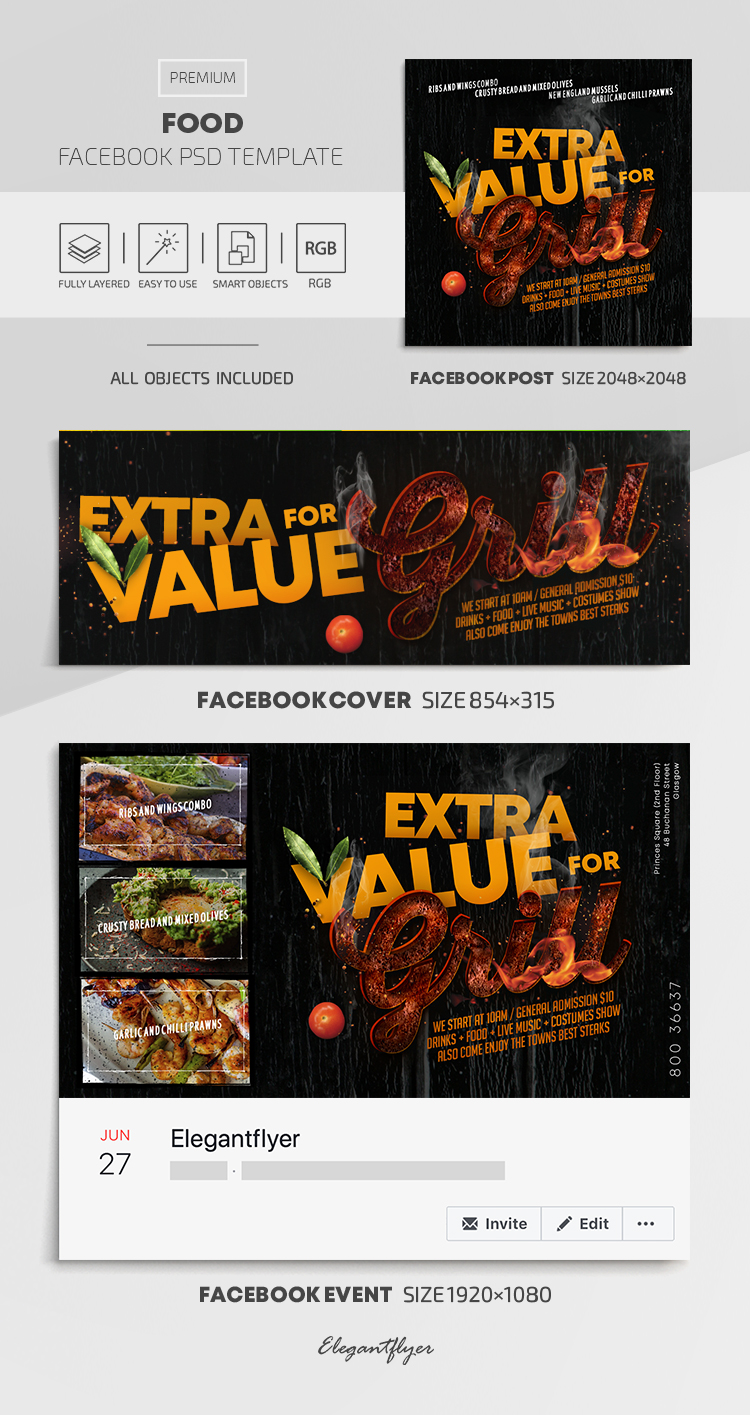 Food – Facebook Cover Template in PSD + Post + Event cover