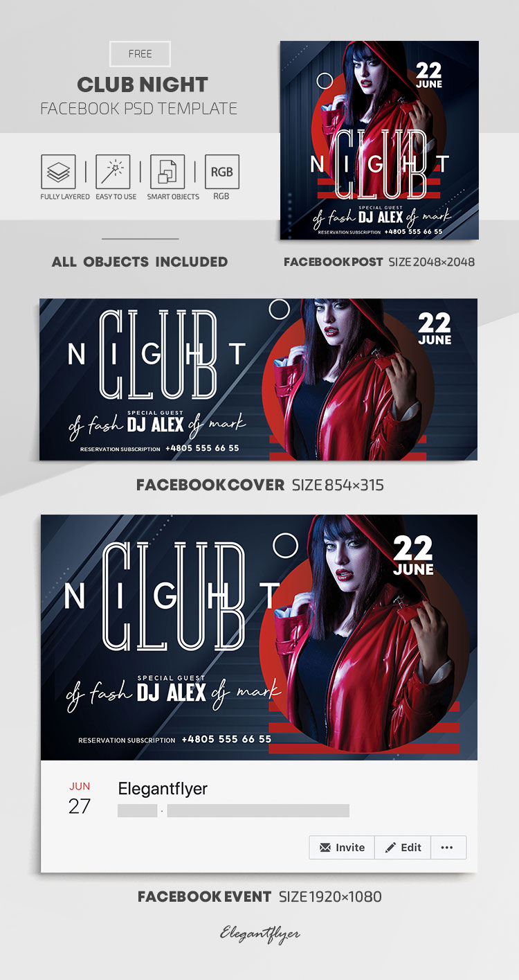 Club Night – Free Facebook Cover Template in PSD + Post + Event cover