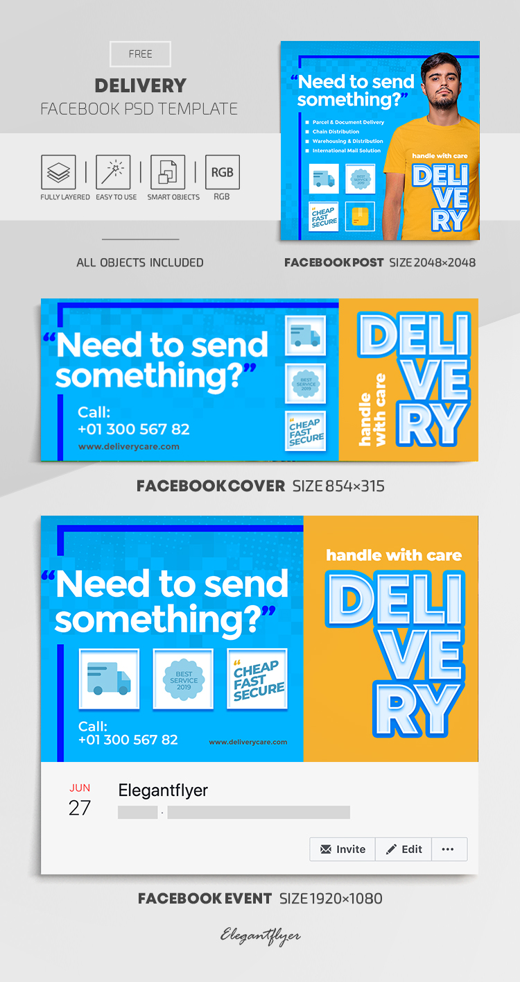 Delivery – Free Facebook Cover Template in PSD + Post + Event cover