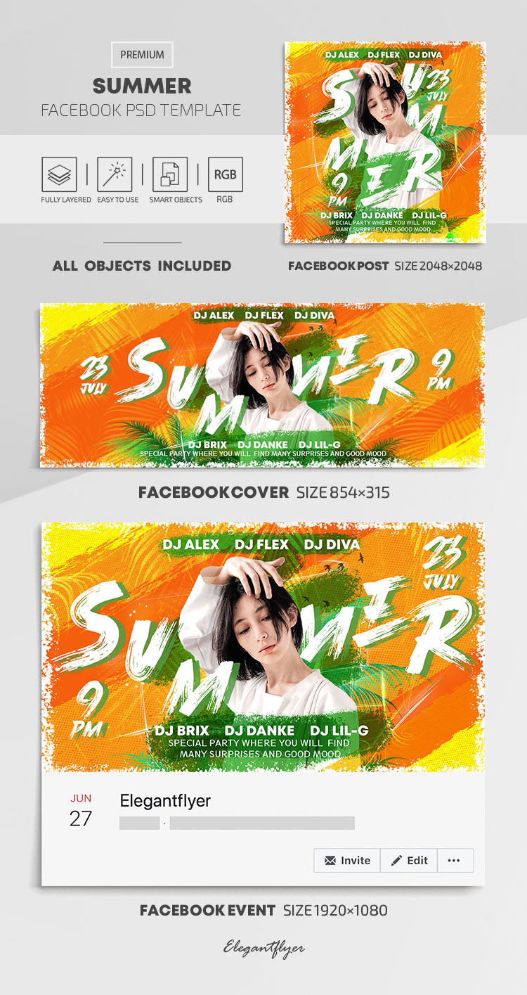 Summer – Facebook Cover Template in PSD + Post + Event cover