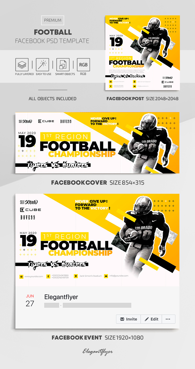 Football – Facebook Cover Template in PSD + Post + Event cover