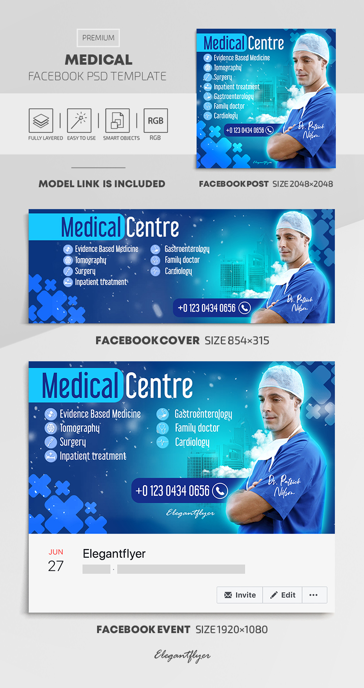 Medical – Facebook Cover Template in PSD + Post + Event cover
