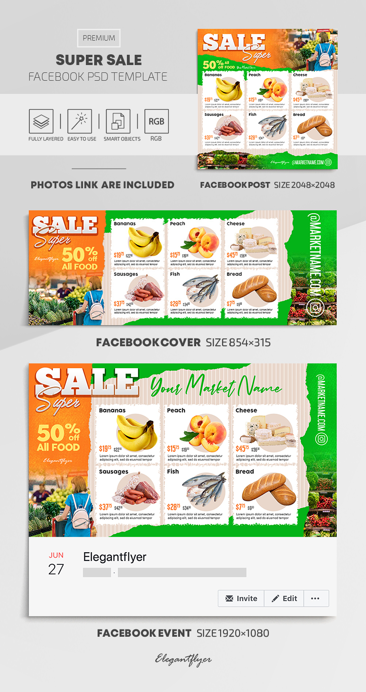 Super Sale – Facebook Cover Template in PSD + Post + Event cover