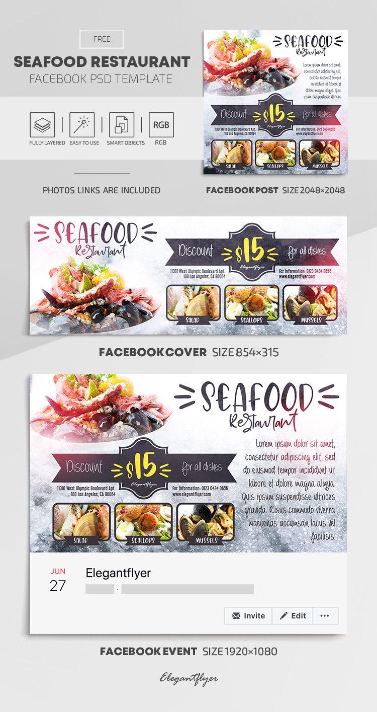 Seafood Restaurant – Free Facebook Cover Template in PSD + Post + Event cover