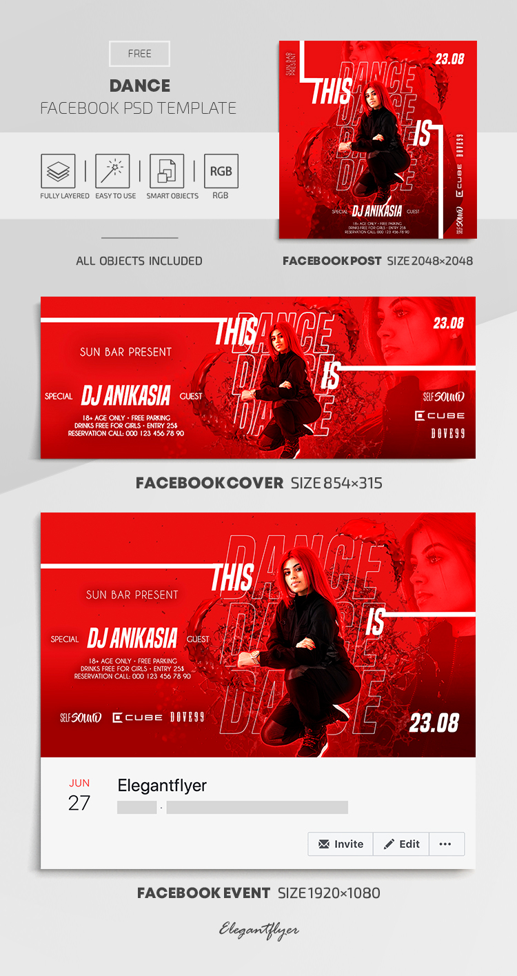 Dance  – Free Facebook Cover Template in PSD + Post + Event cover