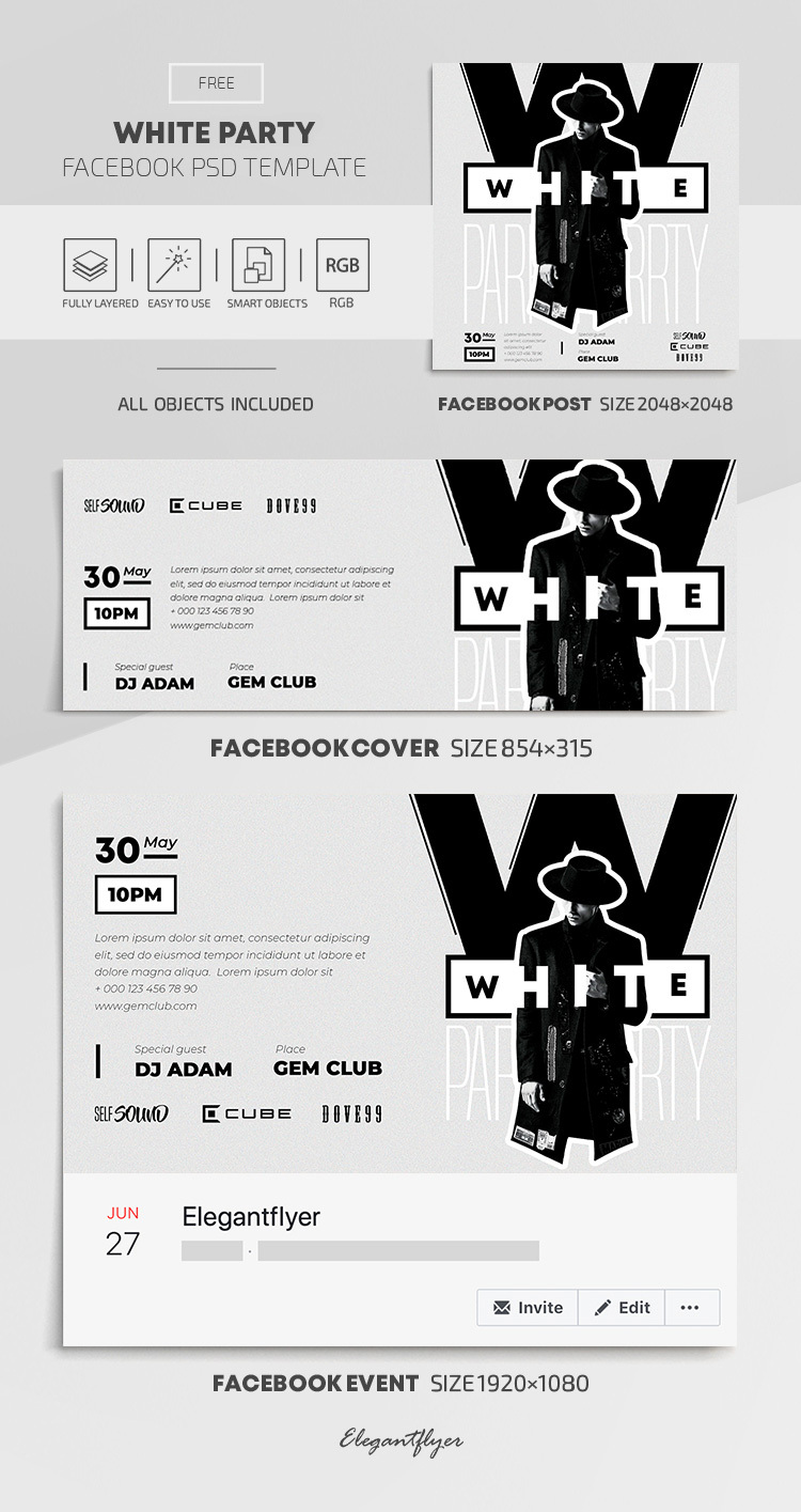 White Party – Free Facebook Cover Template in PSD + Post + Event Cover
