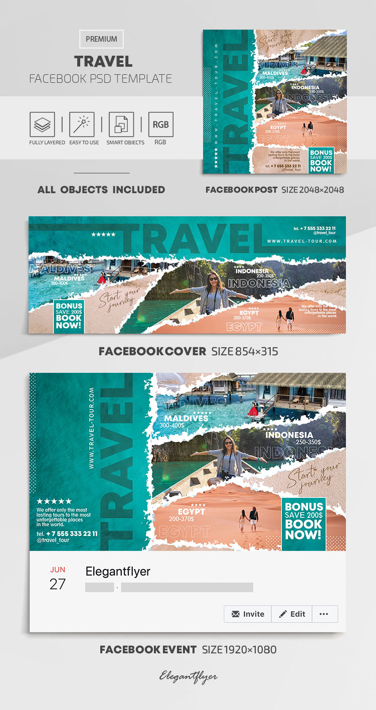 Travel – Facebook Cover Template in PSD + Post + Event cover