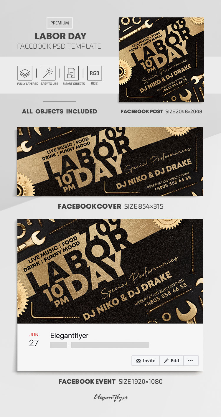 Labor Day – Facebook Cover Template in PSD + Post + Event cover