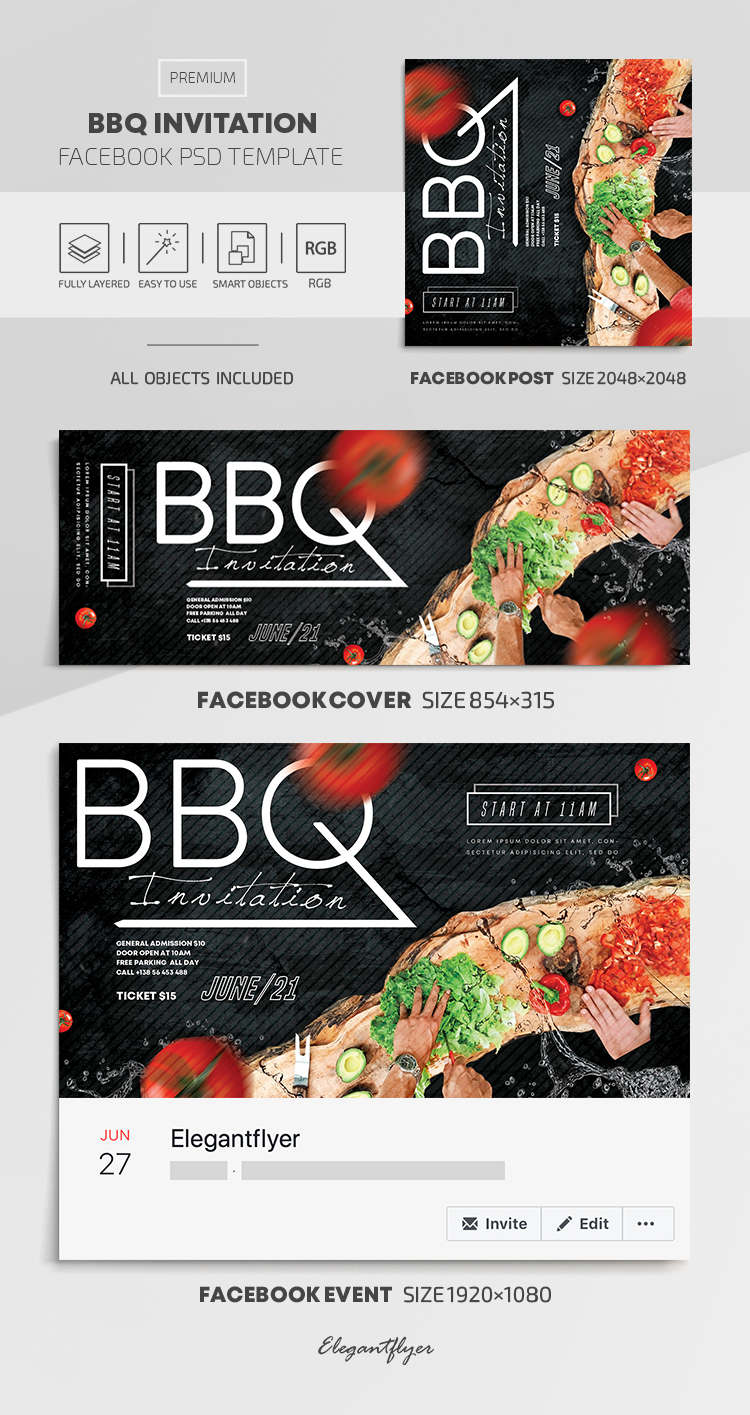 BBQ Invitation – Facebook Cover Template in PSD + Post + Event cover