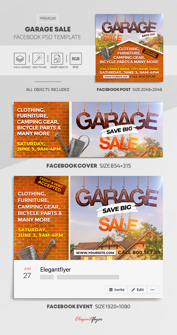 Garage Sale – Facebook Cover Template in PSD + Post + Event cover