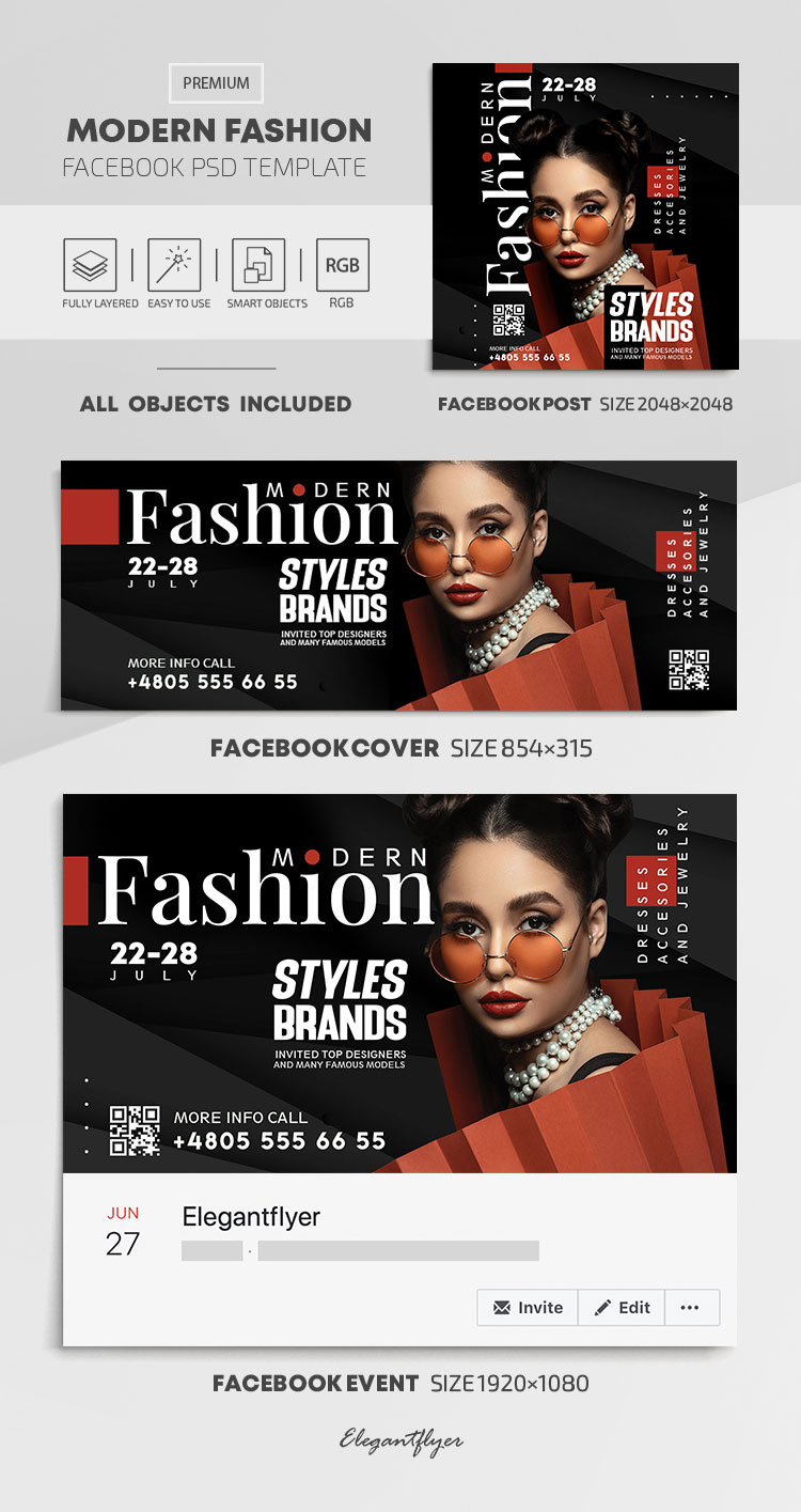 Modern Fashion – Facebook Cover Template in PSD + Post + Event cover