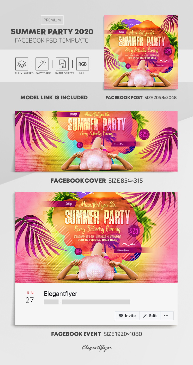 Summer Party 2020 – Facebook Cover Template in PSD + Post + Event cover