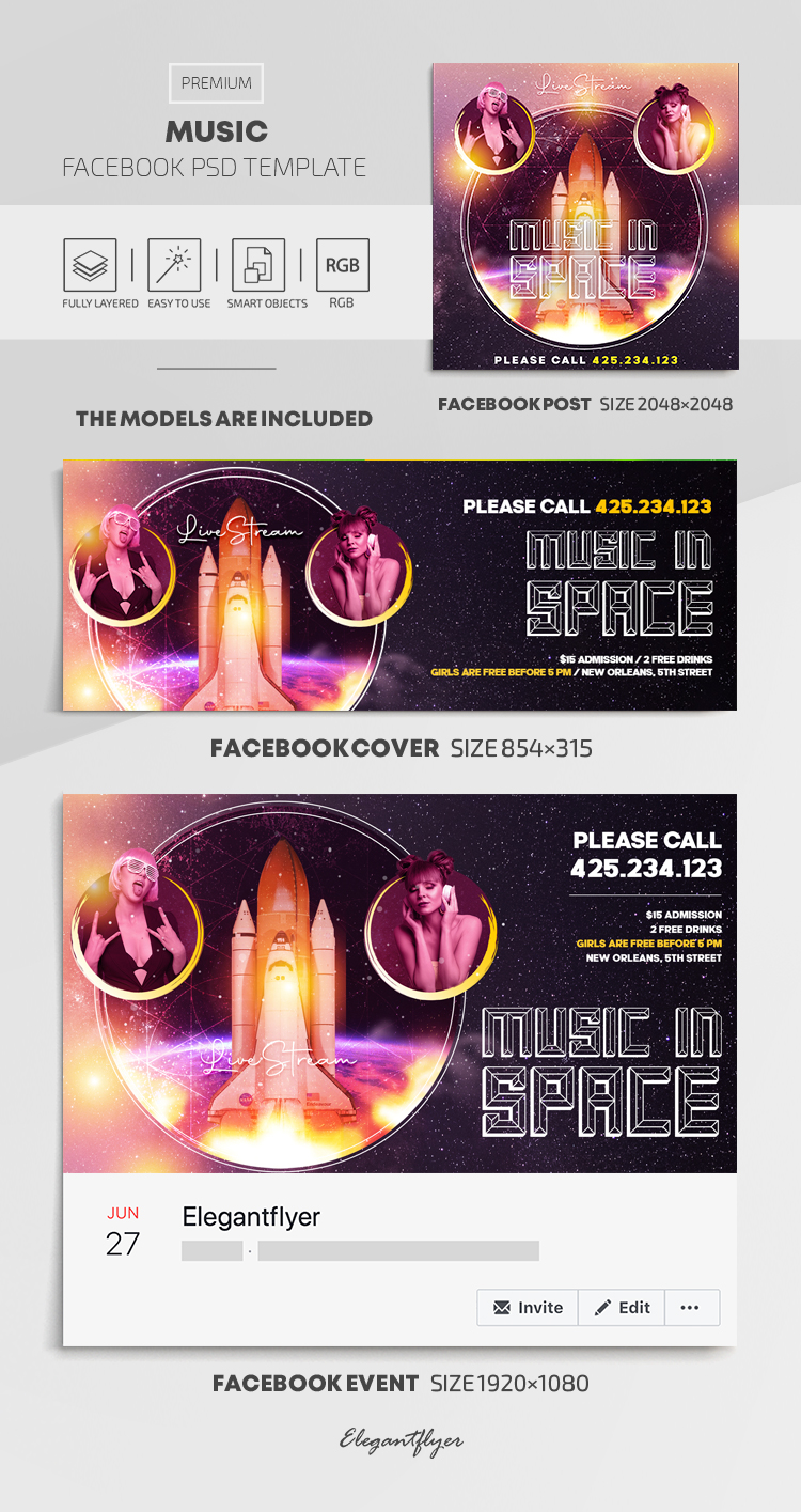 Music – Facebook Cover Template in PSD + Post + Event cover