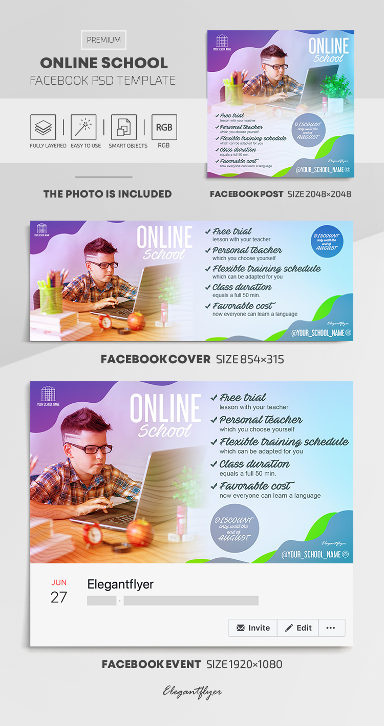 Online School – Facebook Cover Template in PSD + Post + Event cover
