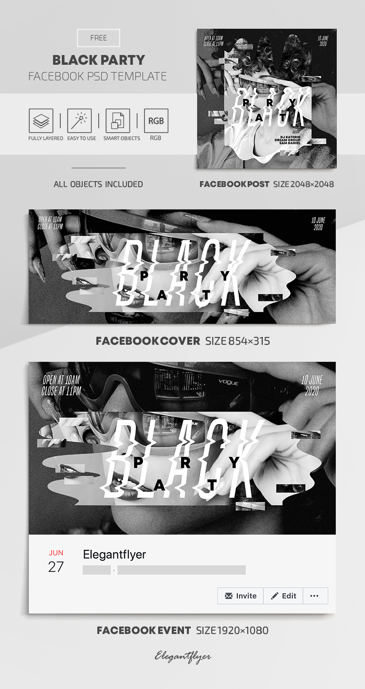 Black Party – Free Facebook Cover Template in PSD + Post + Event cover