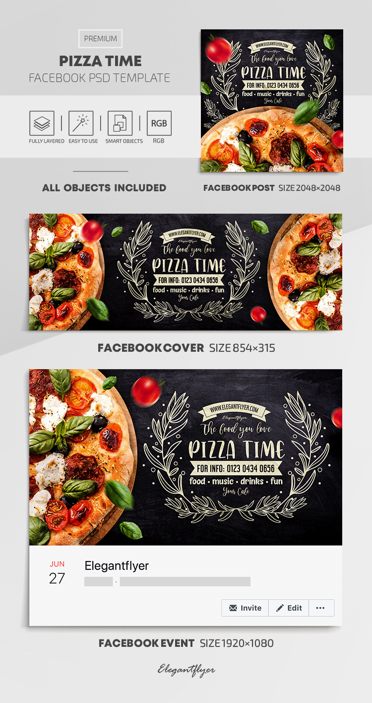 Pizza Time – Facebook Cover Template in PSD + Post + Event cover