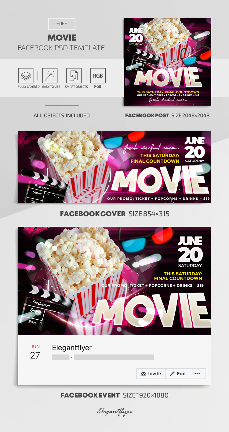 Movie – Free Facebook Cover Template in PSD + Post + Event cover