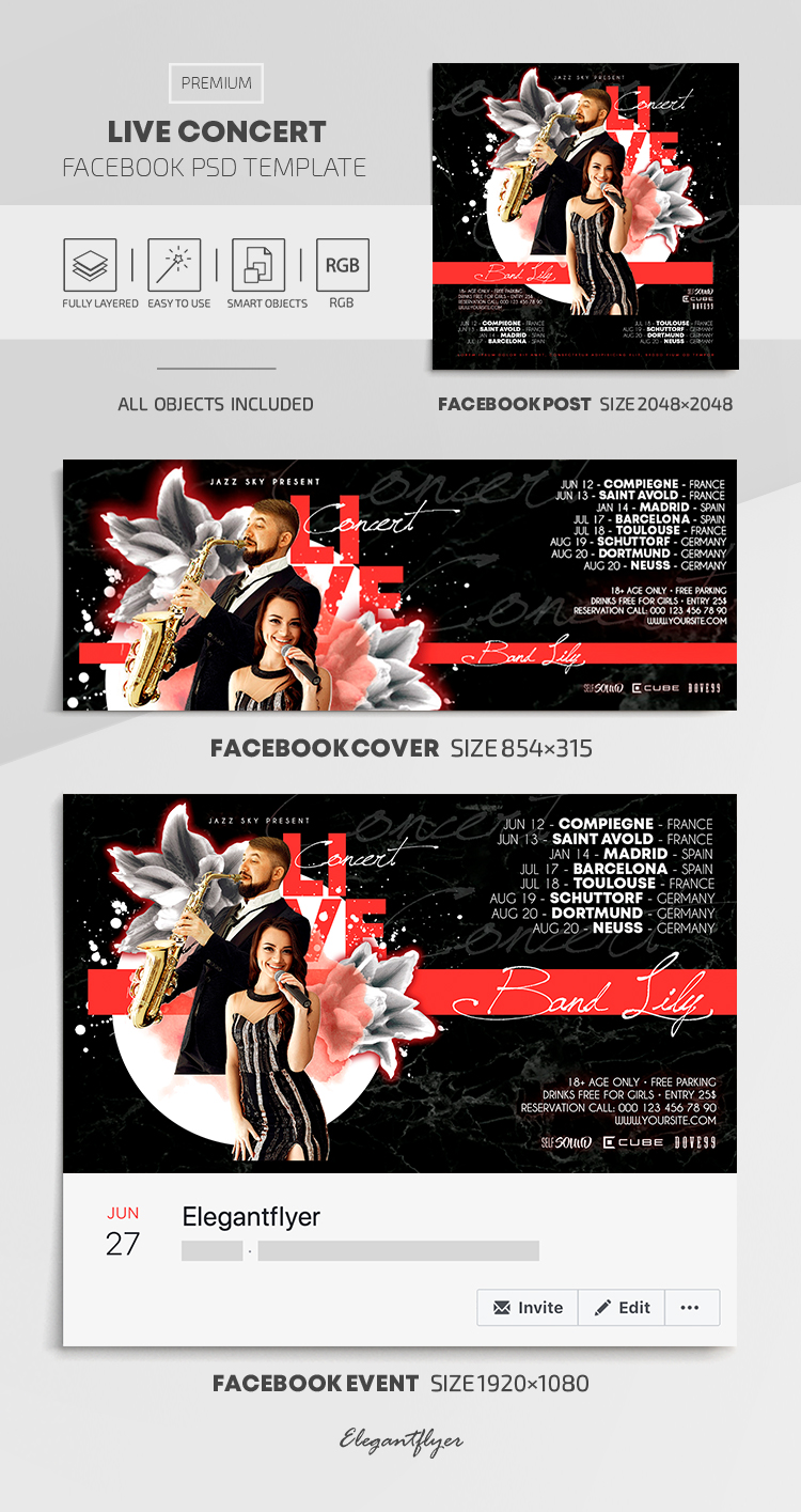 Live Concert – Facebook Cover Template in PSD + Post + Event cover