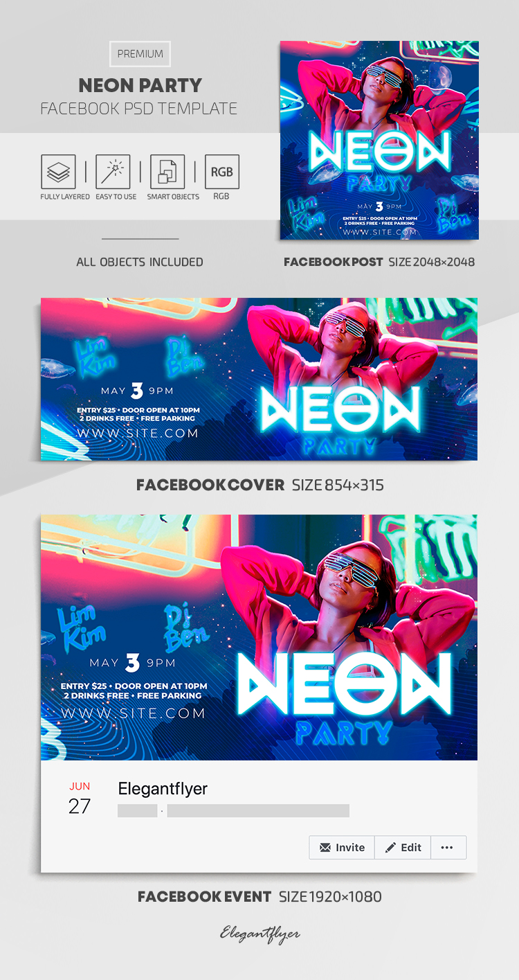 Neon Party – Facebook Cover Template in PSD + Post + Event cover