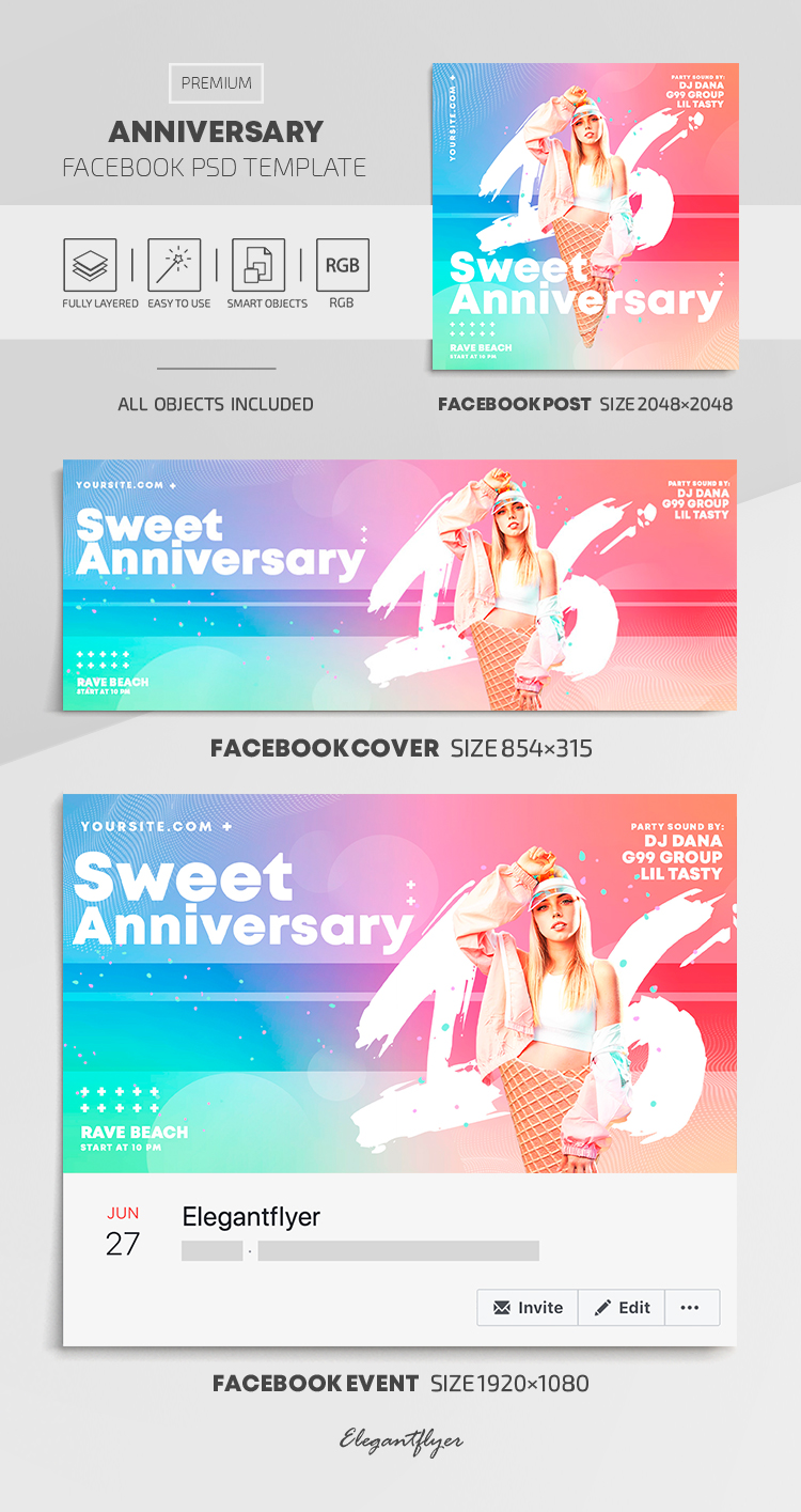 Sweet Anniversary – Facebook Cover Template in PSD + Post + Event cover