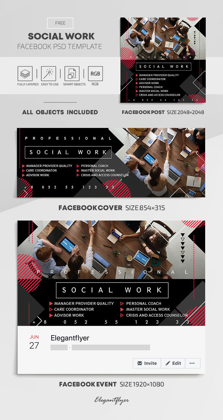 Social Work – Free Facebook Cover Template in PSD + Post + Event cover