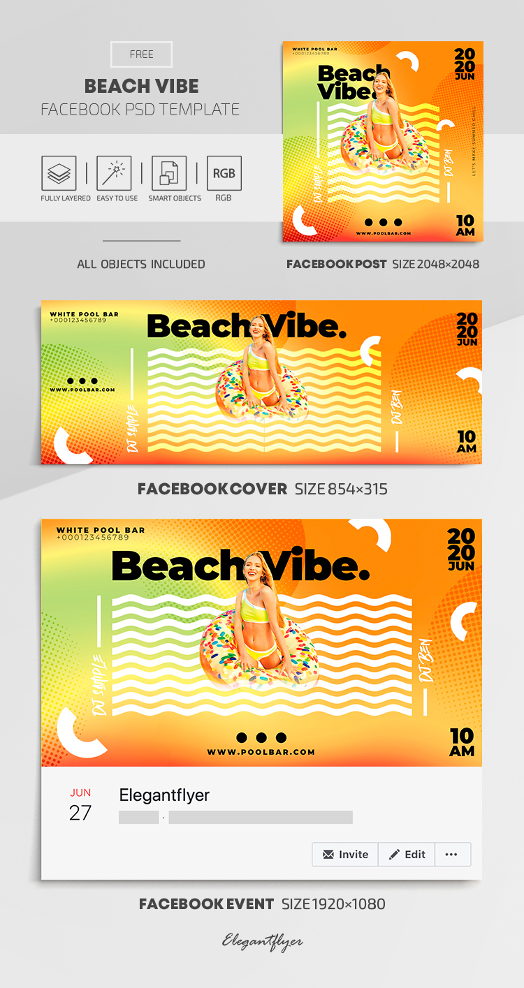 Beach Vibe – Free Facebook Cover Template in PSD + Post + Event cover