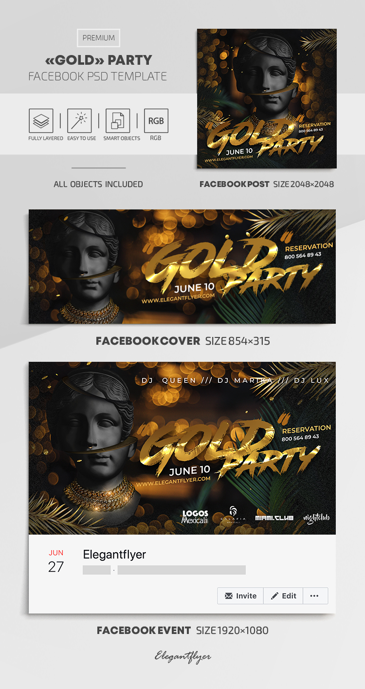 Gold Party – Facebook Cover Template in PSD + Post + Event cover