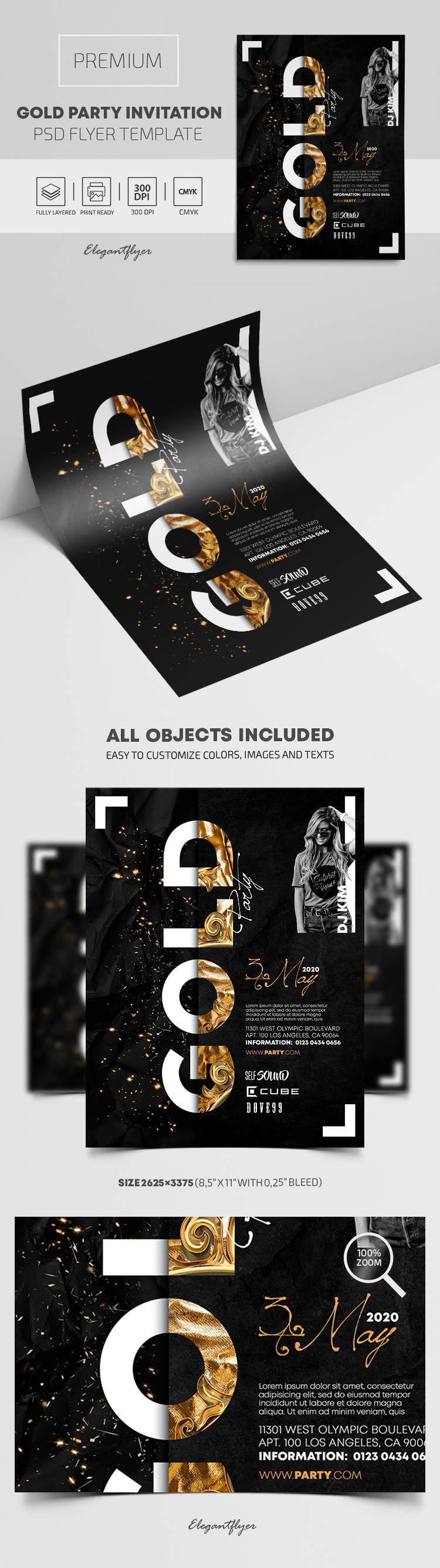 Gold Party Invitation – Premium PSD Flyer Template