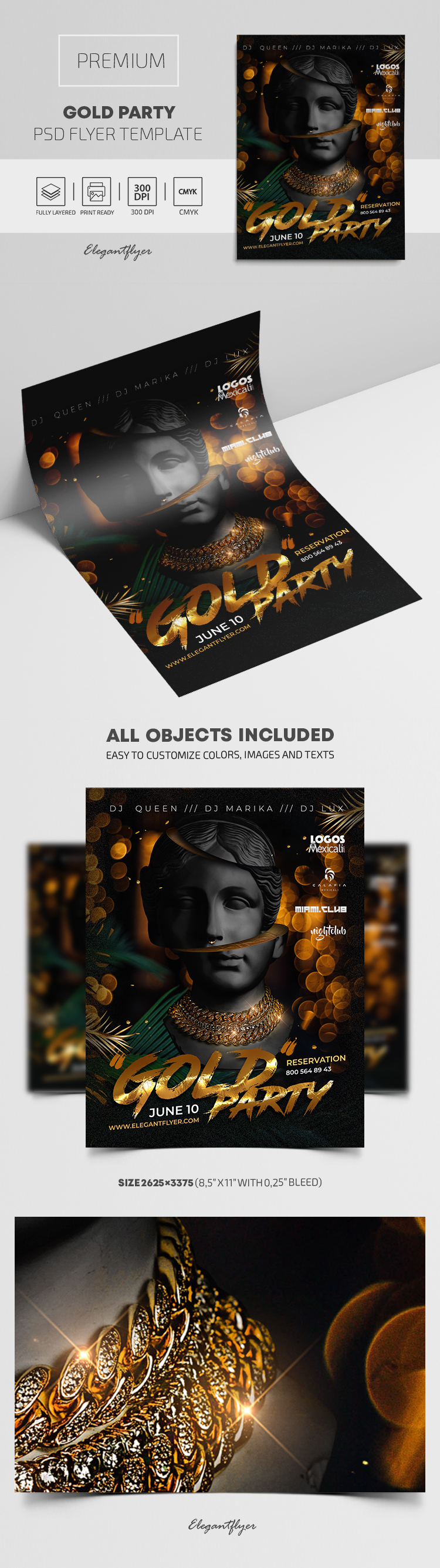 Gold Party – Flyer PSD Template